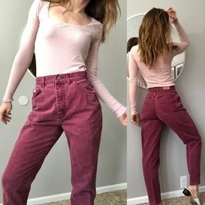 Vintage high waisted dark red mom jeans